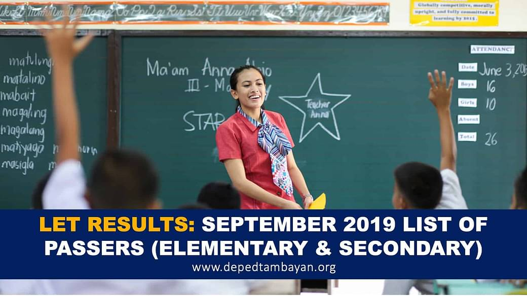 A-B LIST OF PASSERS : September 2019 LET Results Teachers Board Exam  (Secondary)