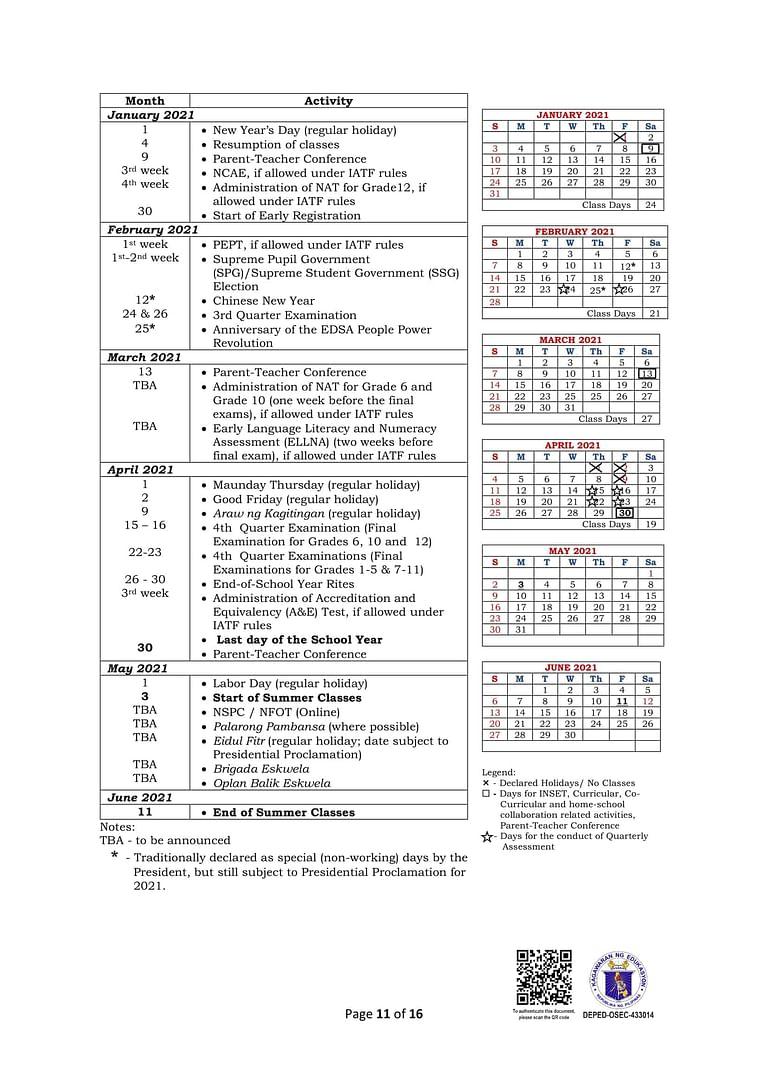 DepEd Monthly School Calendar of Activities for School